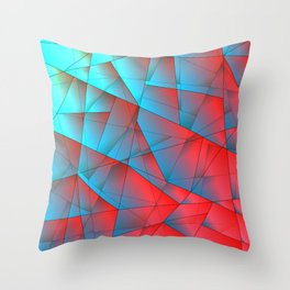 Bright fragments of crystals on irregularly shaped red and blue triangles. Throw Pillow