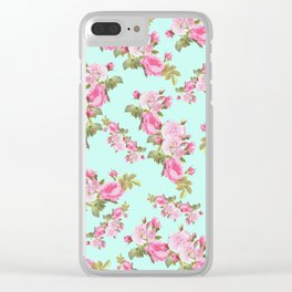 Pink & Mint Green Floral Clear iPhone Case