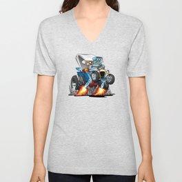 Custom T-bucket Roadster Hotrod Cartoon Illustration Unisex V-Neck