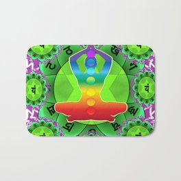 SANSKRIT GREEN HEART CHANTING MANTRA ART Bath Mat
