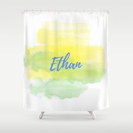 Yellow Green Watercolor Ethan Shower Curtain