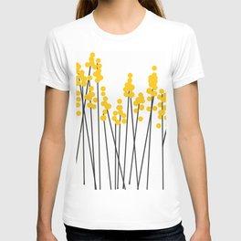 Hello Spring! Yellow/Black Retro Plants on White #decor #society6 #buyart T-shirt
