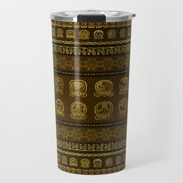 Maya Calendar Glyphs pattern Gold on Brown Travel Mug