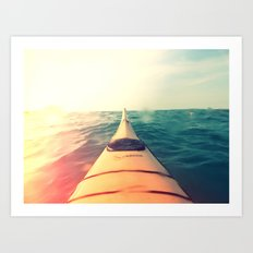 Yellow Kayak in Water Color Nature Photography Art Print