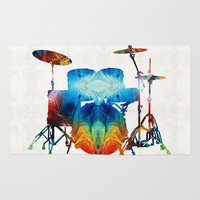 drums Area & Throw Rugs featuring Drum Set Art - Color Fusion Drums - By Sharon Cummings by Sharon Cummings