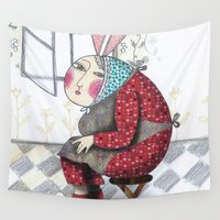 women Wall Tapestries featuring rabbit women  by Agnes Laczo