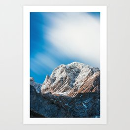 Misty clouds over the mountains Art Print