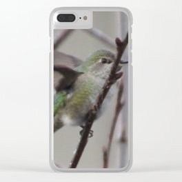 Humingbird  in Cherry Tree Clear iPhone Case