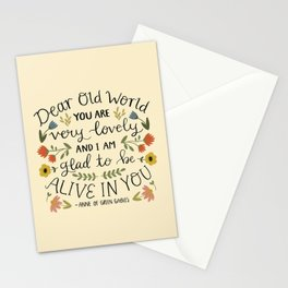 "Anne of Green Gables ""Dear Old World"" Quote Stationery Cards"