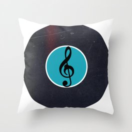 Vinyl Record Art & Design | G Clef | Musical Notes Throw Pillow