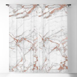 White & Gold Faux Marble Blackout Curtain
