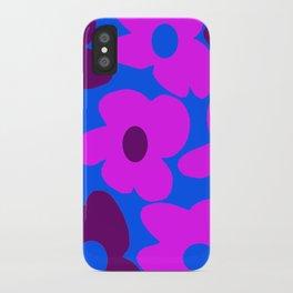 Large Pink and Purple Retro Flowers Blue Background #decor #society6 #buyart iPhone Case