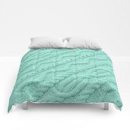 Seafoam Mint Cableknit Comforters
