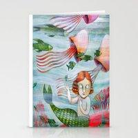siren Stationery Cards featuring SIREN by Lauraballa StudioArte