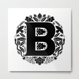 Letter B monogram wildwood Metal Print