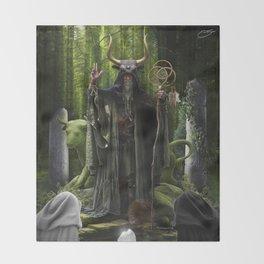 V. The Hierophant Tarot Card Illustration (Color) Version II Throw Blanket