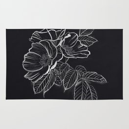 Chalked Roses - Black and White Modern Florals Rug