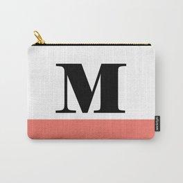 Monogram Letter M-Pantone-Peach Echo Carry-All Pouch