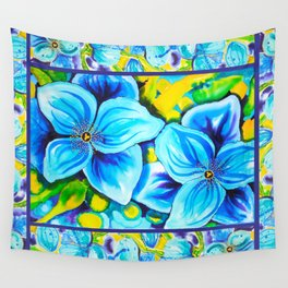 Blue Poppies 3 with Border Wall Tapestry