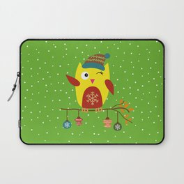 Cute Owl sitting on a branch with christmas baubles, Winter, X-mas Design Laptop Sleeve