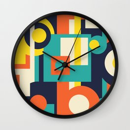 Funky Geometry (Modern Vibrant Color Palette) Wall Clock