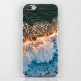 Sunset wave crashing iPhone Skin