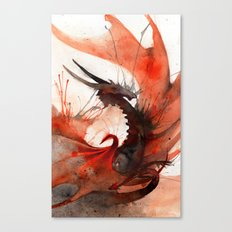 Ink Dragon Red Canvas Print