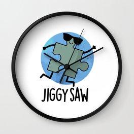 Jiggy Saw Cute Dancing Jigsaw Pun Wall Clock