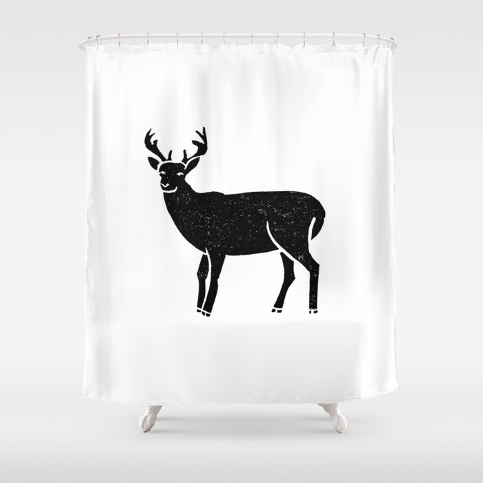 Buck Deer Antlers Portrait Minimal Black And White Linocut Printmaking Art Shower Curtain By Monoo