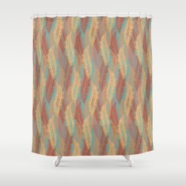 Feather Stripe - Soft Coral Shower Curtain