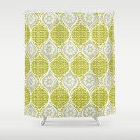 sweater Shower Curtains featuring snowflake sweater by ottomanbrim