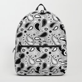 Large Black and White Paisley Pattern Backpack