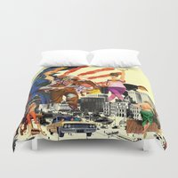 dick Duvet Covers featuring private dick by TRASH RIOT