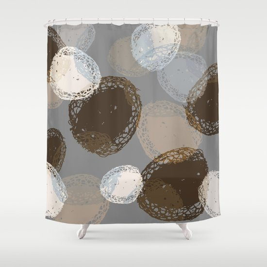 Seed Pods Neutral Color Graphic Pattern Shower Curtain