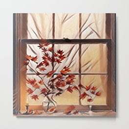 Autumn Window Metal Print