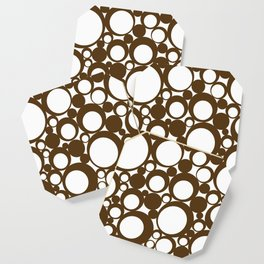 Brown Geometric Abstract Modern Circle Art Coaster