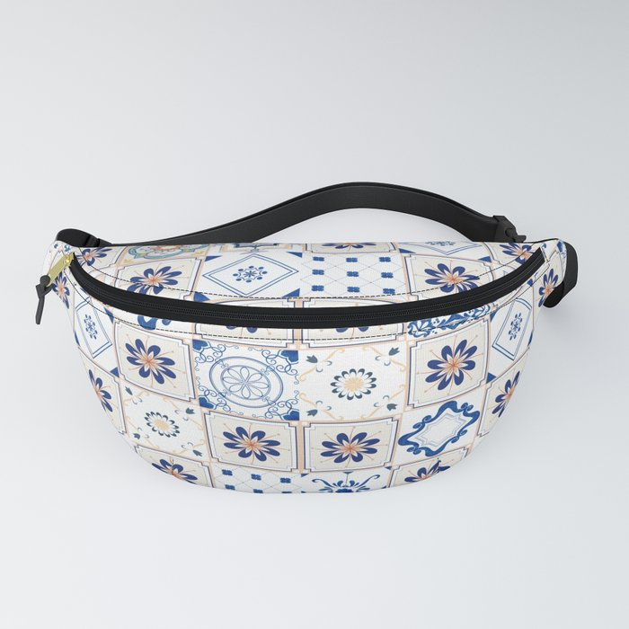 Alhambra Tiles Spanish Tiles Kitchen Decor Classic Accent White Blue Beige Orange Fanny Pack By Lubo