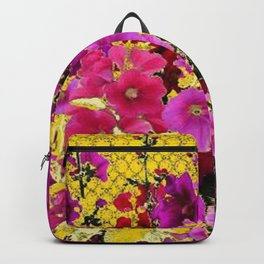 DECORATIVE  PINK & RED HOLLYHOCKS YELLOW GARDEN Backpack