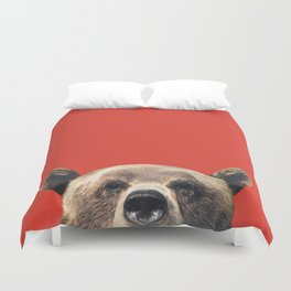 Bear - Red Duvet Cover
