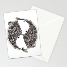 Pisces - Fish Koi - Japanese Tattoo Style (black and white) Stationery Cards