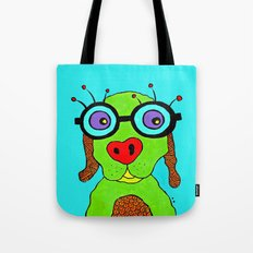dog with glasses Tote Bag