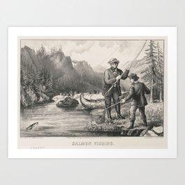 Vintage Illustration of Salmon Fishing (1872) Art Print