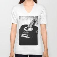 guitar V-neck T-shirts featuring Guitar by Falko Follert Art-FF77