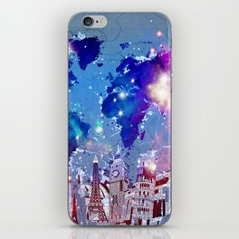 world map city skyline galaxy iPhone Skin
