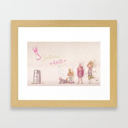 3 Sisters and a Dog! Framed Art Print