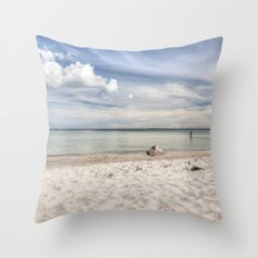 Dream beach Sea Ocean Summer Maritime Navy clouds Throw Pillow