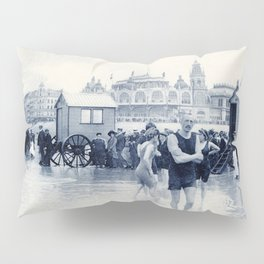 On the beach in 1900, history swimwear Pillow Sham