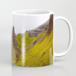 Icelandic Grassland Landscape Pointy Mountains Rocks Coffee Mug