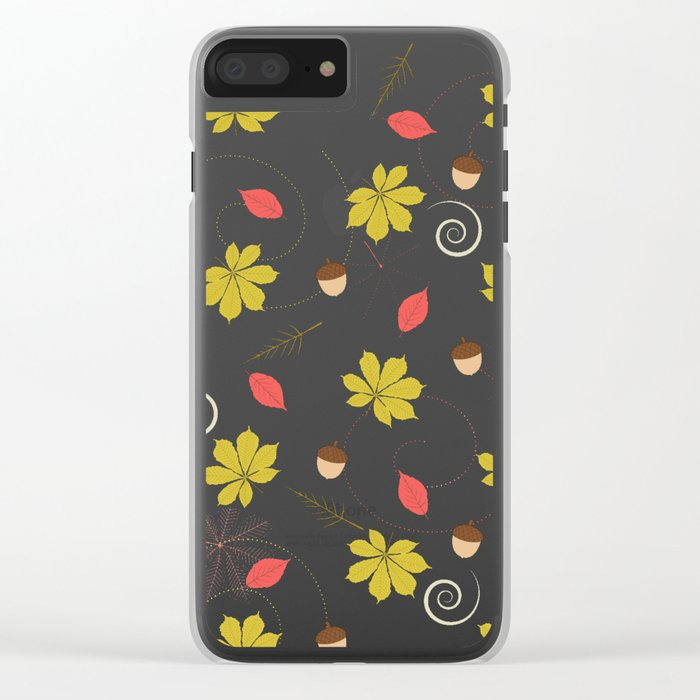 Autumn Pattern Clear iPhone Case