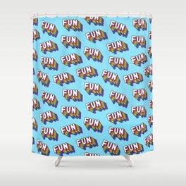 FUN pattern. Blue. Shower Curtain